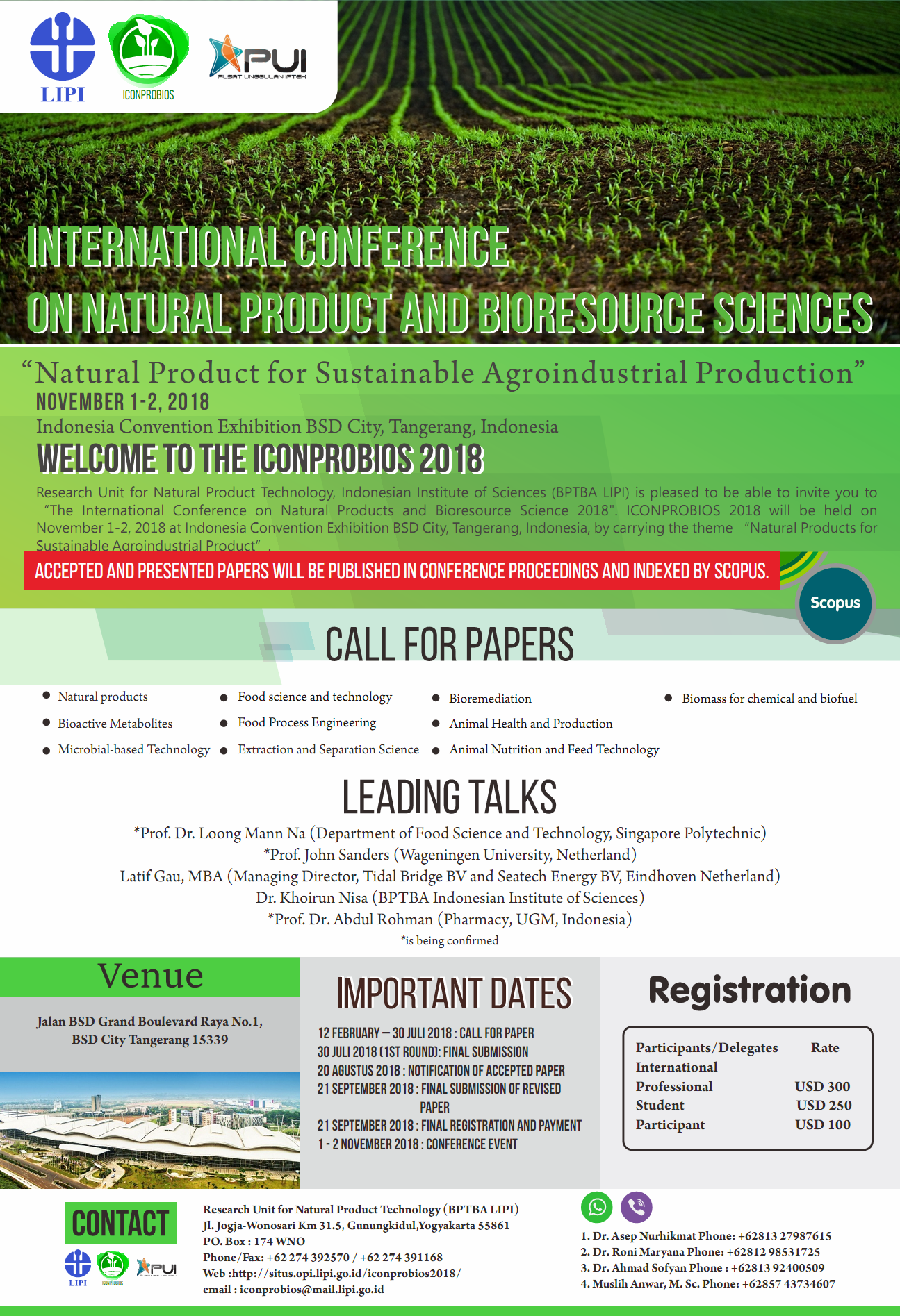 Call for Paper - International Conference ICONPROBIOS 2018